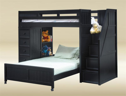 Dillon Twin Loft Bed with Stairs & Storage in Black Finish