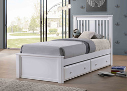 Gary Low Profile Twin Bed in White