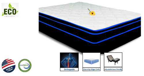 """XL Full Ortho Elegance Pocket Coil 8"""" Mattress shown with Box Spring"""