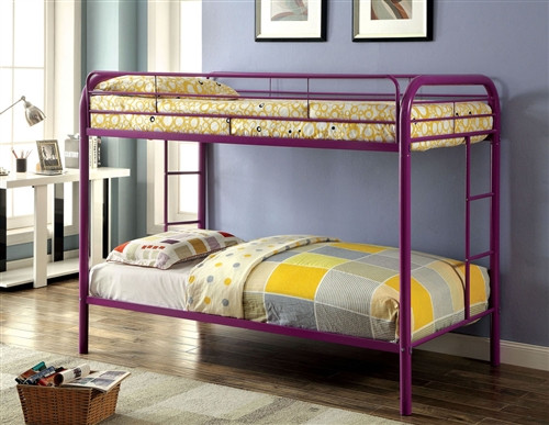 Purple Twin Metal Bunk Bed with Optional Trundle Bed