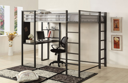 Silver Dark Gray Full Size Loft Bed with Desk Underneath