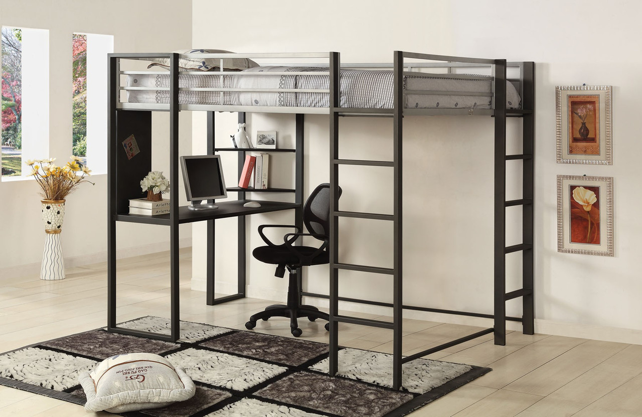 Picture of: Cooper Silver Gun Metal Full Loft Bed With Workstation Underneath