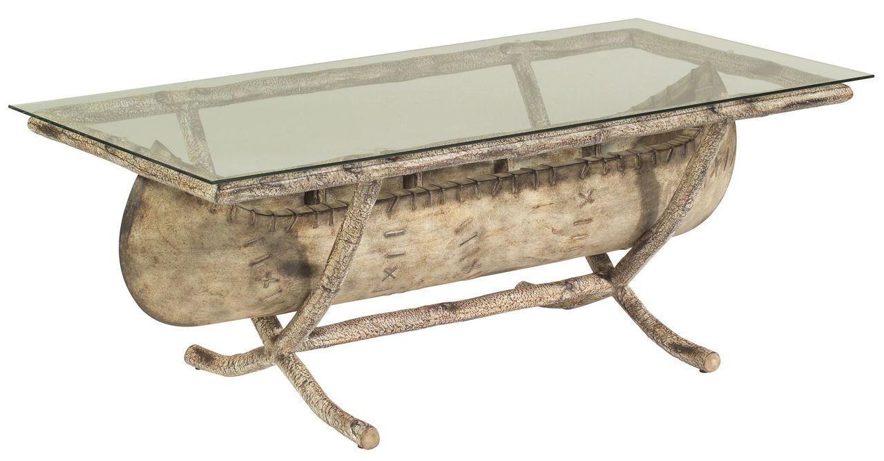 Canoe Coffee Table Glass Top.Woodard River Run Glass Top Canoe Coffee Table