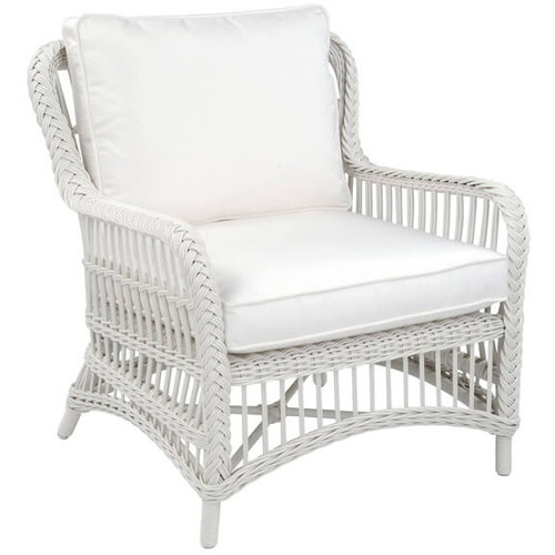 Kingsley Bate Chatham Classic White Wicker Lounge Chair