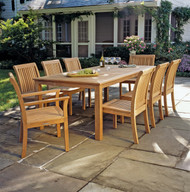 "Consists of one 85"" Wainscott Teak Dining table, two Chelsea Dining Arm Chairs and six Chelsea Dining Side Chairs."
