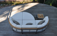 Consists of two Curved Corner Chaise, one armless chair and two Curved Ottomans. Pillows and side table sold separately.