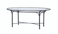 "Brown Jordan  Florentine 86"" Oval Glass Umbrella Dining Table"