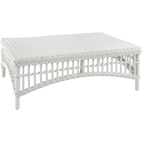 Kingsley Bate Chatham Classic White Wicker Patio Coffee Table