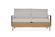 Lloyd Flanders Elements Woven Settee with Stainless Steel Arms & Back