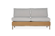 Lloyd Flanders Elements Woven Armless Sectional Settee with Stainless Steel Back