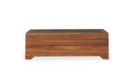 Lloyd Flanders  Rectangular  Teak Coffee Table with Faux Concrete Insert
