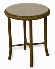 Lloyd Flanders Weekend Retreat Round End Table with Glass Top