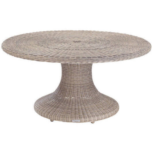 "Kingsley Bate Sag Harbor 60"" Round Wicker Dining Table with Glass"