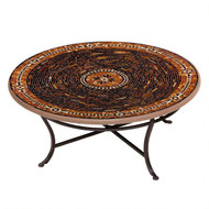 "KNF 36"" Round Mahogany Atlas Coffee Table"