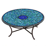 "KNF 36"" Round Opal Glass Coffee Table"