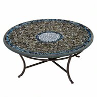 "KNF 36"" Round Slate Glass Coffee Table"
