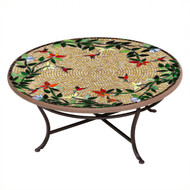 "KNF 42"" Round Caramel Hummingbird Coffee Table"