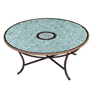 "KNF 42"" Round Jade Glass Coffee Table"