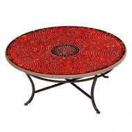 "KNF 42"" Round Ruby Glass Coffee Table"