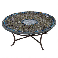 "KNF 42"" Round Slate Glass Coffee Table"