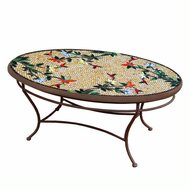 "KNF 42"" Oval Caramel Hummingbird Coffee Table"