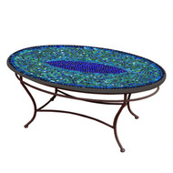 "KNF 42"" Oval Opal Glass Coffee Table"