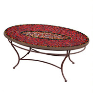 "KNF 42"" Oval Ruby Glass Coffee Table"