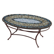 "KNF 42"" Oval Slate Glass Coffee Table"