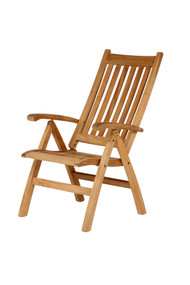 Barlow Tyrie  Ascot Teak Folding Highback Recliner Arm Chair