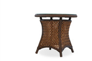 """Lloyd Flanders Grand Traverse 24"""" Round End Table With Glass"""