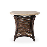 """Lloyd Flanders Grand Traverse 24"""" Round End Table With Travertine Top"""