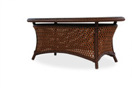"""Lloyd Flanders Grand Traverse 43"""" Oval Cocktail Table With Glass"""