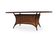 """Lloyd Flanders Grand Traverse 84""""Oval Umbrella Dining Table With Glass"""
