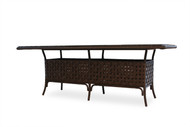 """Lloyd Flanders Haven 84"""" Rectangular Umbrella Dining Table With Glass"""