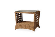 """Lloyd Flanders Magnolia 25"""" Rectangular End Table With Glass"""