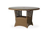 """Lloyd Flanders Magnolia 48"""" Round Umbrella Dining Table With Glass"""