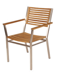 Barlow Tyrie Equinox Stainless & Teak Dining Arm Chair