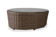 """Lloyd Flanders Largo 48"""" Oval Cocktail Table With Glass"""