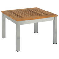 """Barlow Tyrie Equinox Stainless & Teak 23"""" Square Occasional Table"""
