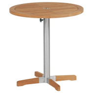 "Barlow Tyrie Equinox Stainless & Teak 26"" Round Pedestal Table"