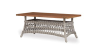 "Lloyd Flanders Mackinac 44"" Rectangular Cocktail Table With Teak Top"