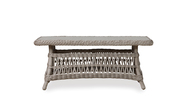 "Lloyd Flanders Mackinac 44"" Rectangular Woven Top  Cocktail Table With Lay On Glass"