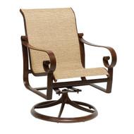 Woodard Belden Sling Swivel Rocking Dining Arm Chair