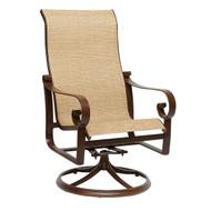 Woodard Belden Sling High Back Swivel Rocking Dining Arm Chair