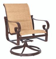 Woodard Belden Padded Sling Swivel Rocking Dining Arm Chair