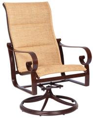 Woodard Belden Padded Sling High Back Swivel Rocking Dining Arm Chair