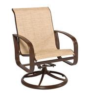 Woodard Cayman Isle Sling Swivel Rocking Dining Arm Chair