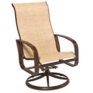 Woodard Cayman Isle Sling High Back Swivel Rocking Dining Arm Chair