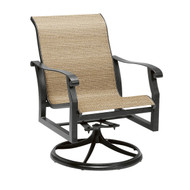 Woodard Cortland Sling Swivel Rocking Dining Arm Chair