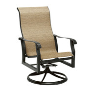 Woodard Cortland Sling High Back Swivel Rocking Dining Arm Chair